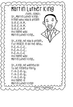 "Song, ""Martin Luther King"" (Tune: ""Bingo""; free; from First Grade Wow)"