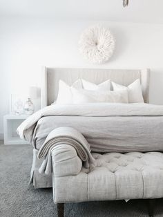 cozy white bed.....linen for summer time....bedding ...juju hat and pillows ❤️