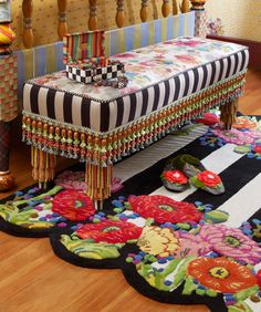 Technicolor Benches are named for the saturated levels of color found in the fabrics and trims. Great accent pieces!