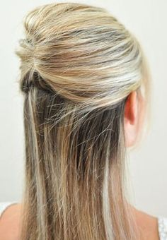Half French Twist - 1. Pull a section from one side of your head back to the center & insert bobby pins vertically. 2. Then, grab a section from the opposite side, bring it back to the section, flip it around & insert bobby pins on the underneath section. You're done!