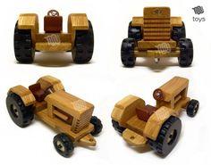 Tractor con remolque juguete de madera