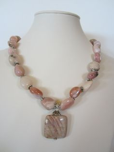 Pink Opal necklace with square pendant Summer Necklace by yasmi65, $32.00