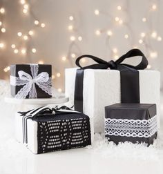Black and white lace gift wrap