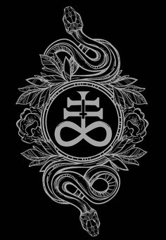 """""""Serpents with Leviathan Cross. The Leviathan Cross is sometimes referred to the Cross of Satan, depicted on the bottom is an infinity sign (∞), and above is a double cross (‡). The double cross symbolizes protection and balance. Occult Symbols, Magic Symbols, Occult Art, The Occult, Shaman Symbols, Demon Symbols, Satanic Cross, Satanic Art, Panzer Tattoo"""