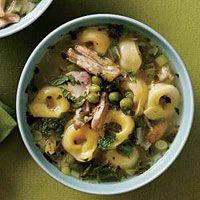Lemon Chicken Tortellini Soup... no mint, added oregano, onion, and a potato. Used spinach instead of escarole