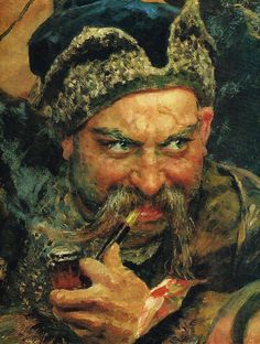 ...COSSACKS WRITING A LETTER...(CLOSE UP DETAIL) BY ILYA REPIN.