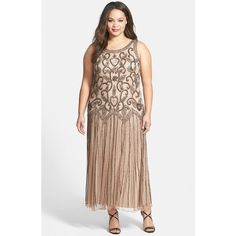Plus Size Women's Pisarro Nights Embellished Mesh Dress ($225) ❤ liked on Polyvore featuring plus size women's fashion, plus size clothing, plus size dresses, plus size, vintage cocktail dresses, plus size vintage dresses, cocktail dresses, embellished cocktail dress and drop waist cocktail dress