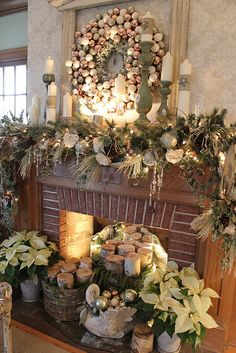 ~ Christmas Mantle - Love the Poinsettias, the Christmas Ball Wreath, Pine Garland, Swan w/ more Christmas Balls & Baskets w/ Fresh Cut Wood Logs....