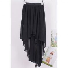 $5.69 Stylish Irregular Design High-Low Good Quality Chiffon Skirt For Women