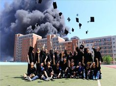 Students Under Fire for Ignoring Burning School to Celebrate Graduation