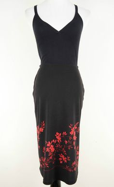 Express Black Skirt with Floral Print Size XS by Express | ClosetDash