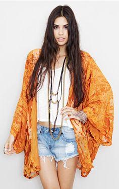 love this orange kimono jacket! #bohemian ☮k☮ #boho