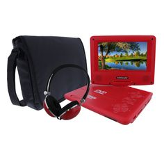 KORAMZI 7 inch Portable DVD Player with Rechargeable Battery, SD Card Slot and USB Port Swivel and Fold Portable DVD/CD/MP3 Player with Matching Color Headphones AC/DC Adapter (Red)- PDVD777
