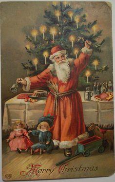 Merry Christmas  Vintage Christmas Santa Postcard