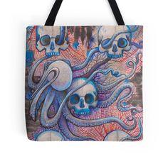 dark sea beach fashion skull tote bag art by melanie dann