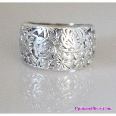 Silpada Artisan Jewelry Size 9 - 9.5 Etched Flower Oxidized 925 Sterling Silver Tapered Wide Band Ring Rare Retired