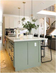 Sage Green Kitchen, Green Kitchen Island, Green Kitchen Cabinets, Kitchen Cabinet Colors, Different Color Kitchen Cabinets, Painted Kitchen Island, Home Decor Kitchen, Kitchen Interior, Home Kitchens