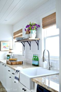 Amazing DIY white kitchen make-over, how to install a plank ceiling, by Chatfield Court featured on /Remodelaholic/