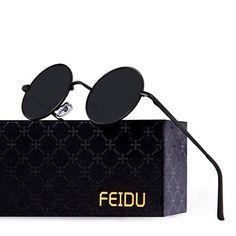 322183e0a3a8 FEIDU-Men Round Retro Polarized Sunglasses Women Vintage Sunglasses FD3013  (Black Black