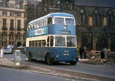 BUT 9611T trolleybus on a street in Bradford, ca. 1960s