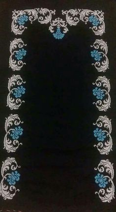 This Pin was discovered by Lal Diy Bead Embroidery, Embroidery Patterns Free, Hand Embroidery Designs, Cross Stitch Embroidery, Cross Stitch Borders, Cross Stitch Flowers, Cross Stitch Designs, Cross Stitch Patterns, Mantel Azul
