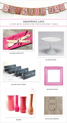 How to put together the perfect dessert table.  http://www.weddingchicks.com/2013/08/27/sexy-bachelorette-party-ideas/