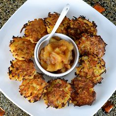 Baked Rutabaga & Potato Latkes from Cara Lyons. Baking them means a fraction of the oil, and don't worry: they're still crisp as ever!
