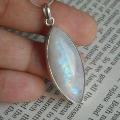 Rainbow Moonstone Pendant Necklace - Leaf pendants - Twilight pendants $95.00