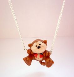 """Cheeky #Monkey Quirky Necklace - #Upcycled Toy on 16"""" Silver-Plated Chain #handmadejewellery #handmadejewelry #Etsy #kawaii"""