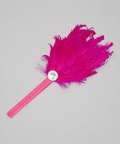Hot Pink Feather & Rhinestone Headband by Tutus by Tutu AND Lulu #zulily #zulilyfinds