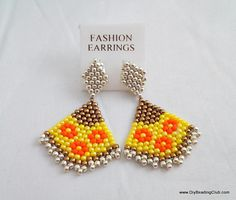Japanese Fan Earrings Brickstitch Beading Tutorial