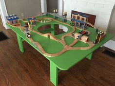 How to Build a Train Table With Hole in Center - Finished in Hours - Holzspielzeug , Lego Table, Play Table, Kid Table, Train Room, Train Activities, Train Table, Wooden Train, Diy For Kids, Table Plans
