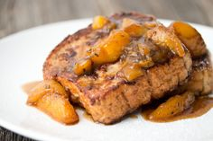 French Toast with Rosemary Peach Compote