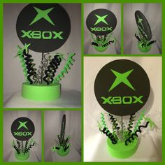 xbox party centerpiece by partycenterpiece on Etsy 10th Birthday Parties, Birthday Games, 12th Birthday, Boy Birthday, Birthday Ideas, Xbox Party, Video Game Party, Party Games, Bar Mitzvah Party