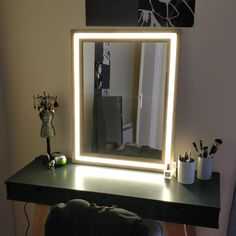 Modern Wood and LED Vanity Mirror