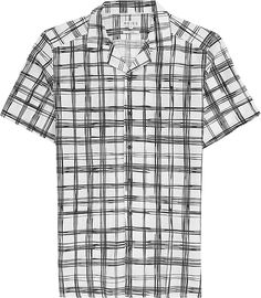 Mens White Checked Cuban Collar Shirt - Reiss Beluga