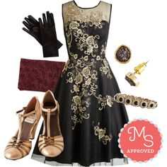 In this outfit: Dreamy Meets Dazzling Dress, Class from the Past Gloves, Chic to Chic Clutch, Bold Fashioned Heel, Just a Glimmer Bit Earrings, In Awe My Life Bracelet #fancy #gold #holiday #party #dance #fashion #ModCloth #ModStylist