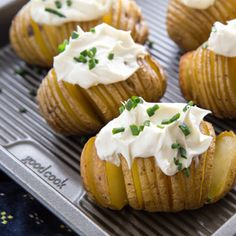 Hasselback potatoes are a simple and stunning way to serve up roasted potatoes. This version is infused all the way through with fresh garlic flavor. Then topped with soft and creamy Italian marscapone and garnished with chives. The result is a quick side dish that will please everyone at the dinner table. A great side-dish to serve with our recipe for The Best Steak You'll Ever Make.
