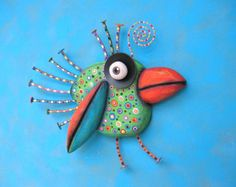 Toucan Baby MADE to ORDER Found Object Wall by FigJamStudio