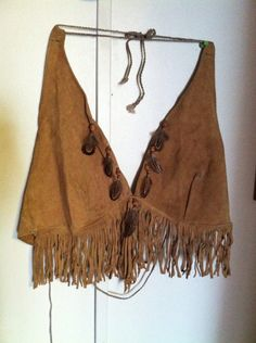 Buck swede leather halter top on Etsy, $50.00