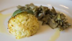 Salt cod fritter with artichoke trifolati style (fried in olive oil, garlic, and parsley)