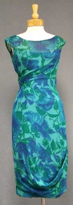 Beautiful Helena Barbieri 1960's cocktail dress in green and blue silk chiffon, I love this!  www.vintageous.com The draping is very interesting.
