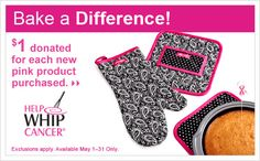 Help Whip Breast Cancer! Every May we have some special pink items to raise money. Here is the 2012 items.