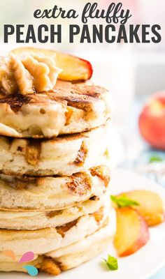This is hands down the best peach pancake recipe I ever tried! Made easy with a mix, these turn out SO thick and fluffy - unbelievable!