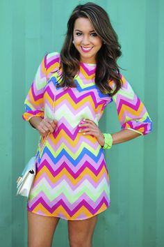 *Life Of The Party Chevron Dress: Multi*