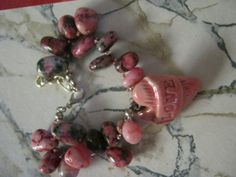 Pink Ceramic Heart and Gemstone Bracelet by jansbeads on Etsy, $33.50
