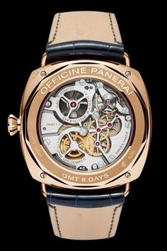 Radiomir 8 Days GMT Oro Rosso - Special Edition 2013 Officine Panerai: Movement:Hand-wound mechanical with skeletonized bridges, Panera. Amazing Watches, Beautiful Watches, Cool Watches, Panerai Radiomir, Panerai Watches, Breitling, Dream Watches, Fine Watches, Men's Watches