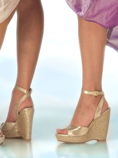 Womens Bridal Evening Prom Gold Wedge Platform High Heels Sandals Shoes Viviana- $57 perfect wedges