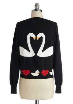 Swan Love Cardigan, #ModCloth