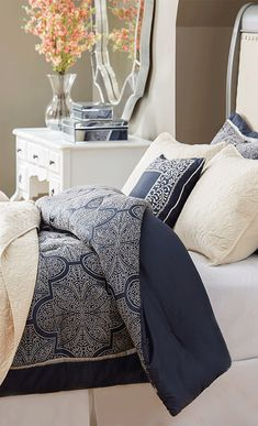 Fiona navy comforter for beautiful bedroom decoration ideas Bedding Master Bedroom, Blue Bedroom, Bedroom Decor, Bedroom Ideas, Navy Comforter, Navy Blue Bedding, White Bedding, Navy Bedrooms, My New Room